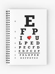 Eye Chart Optometry Optometrist Love Snellen Vision Spiral Notebook