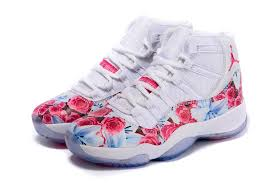 jordans 11 vendre nike air force. Vendre Pas Cher Air Jordan 11 Retro Filles Fleur Floral Blanc Rouge Basketball Authentic Chaussures Jordans Nike Force