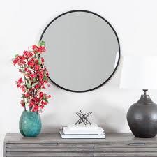 adelina circle framed black wall mirror