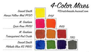 Watercolor Palette Chart 4 Color Watercolor Palette Scratchmade Journal