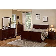 bordeaux louis philippe style bedroom furniture collection.  Bordeaux Poundex Louis Phillipe Bedroom Set Featuring French Style Sleigh Platform  Bed And Matching Case Goods Queen Cherry Intended Bordeaux Philippe Furniture Collection E
