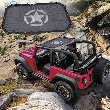 black sunshade mesh top cover durable off road roof eclipse uv protection star styling for jeep