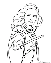 Small Picture Harry Potter Hermione Granger Holding Wand Coloring Pages Printable