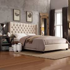 INSPIRE Q Naples Beige Linen Wingback Button Tufted Platform Bed