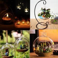 Hanging Glass Tea Light Spheres Details About Candlestick Tealight Holder Hanging Glass Ball Plant Terrarium Container Decor