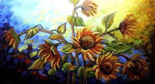 china handmade sunflower oil paintings with heavy textures china sunflower oil paintings home decoration