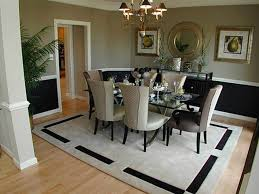 rug under dining table with bench