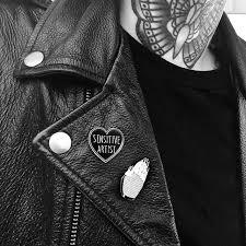 sensitive artist black heart enamel pin by foxblood