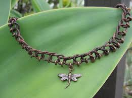 custom made necklace choker brown braided leather cord with copper beads and pendant