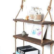 3 floating shelves decorative wall hanging shelf tier distressed wood jute rope rustic white shel