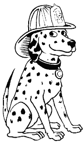 sparky the fire dog. a dalmatian fire dog sitting and wearing firemens helmet sparky the coloring pages