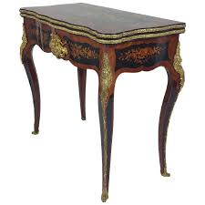19th C French Marquetry Fold Over Card Table 1861 France From S R
