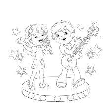 Kleurplaat Pagina Overzicht Van Jongen En Meisje Zingen Een Lied