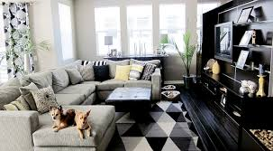 awesome geometric black white living room rugs cream fabric sectional sofa black leather ottoman coffee table