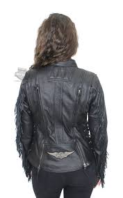 harley davidson womens boone fringed winged b s patch black leather jacket