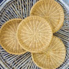 set of 6 vintage woven rattan paper