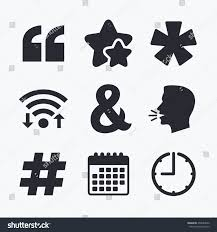 Quote Asterisk Footnote Icons Hashtag Social Stock Illustration