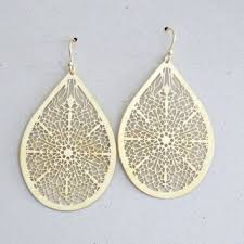 large teardrop filigree earrings gold teardrop laser cut earrin