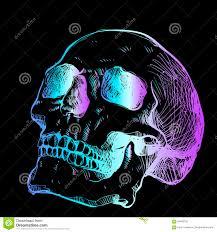 яркий неоновый эскиз черепа ультрамодная идея для татуировки тон