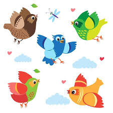 colorful birds flying clipart. Simple Flying Flying Colorful Birds Vector Set Cartoon Illustration Isolated On  White Background Birds Clipart T