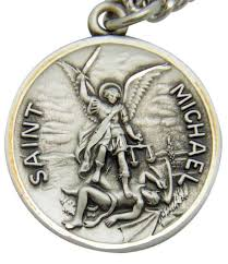 mrt st michael sterling silver saint protection medal w s steel chain boxed