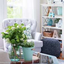 Blue And Green Living Room beachy blue & green summer living room tour the happy housie 2325 by xevi.us
