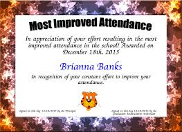 Most Improved Attendance Certificate Created With