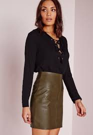 missguided faux leather mini skirt green
