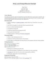 Resume Objective Entry Level Entry Level Resume Objective Examples
