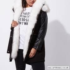 womens river island faux fur collar parka coat black z7sss3un8g