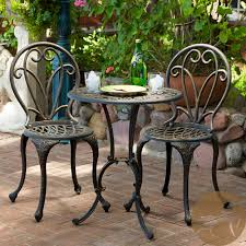 this french style outdoor bistro set will lend classy style to your patio the set is constructed of cast aluminum in dark gold color with cast iron legs