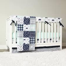 baby boy crib bedding set mint bear