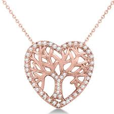 diamond heart family tree of life pendant necklace 14k rose gold 0 05ct