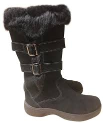 l l bean suede buckles water repellant water resistant fur black boots image 0