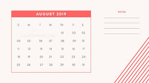 8 August Printable Mini Calendar 2019 Template With Notes