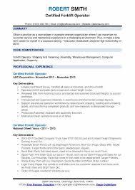 Certified Forklift Operator Resume Samples Qwikresume