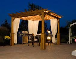 pergola plans in gold ideas with chairs and table plus curtains and lights looks elegant