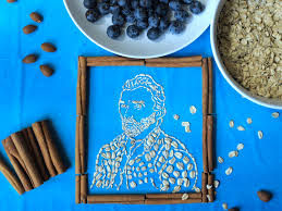 self portrait of vincent van gough made out of oatmeal