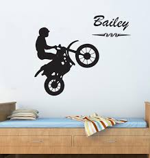 dirt bike wall decals customise name kids with a boy riding dirt bike home decor boy s on motorbike wall art australia with wall decal dirt bike wall decals for home decorating dirt wall