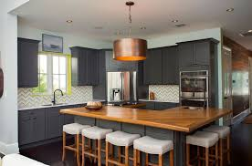 eclectic kitchen with gray cabinets wood counter colorful backsplash and round pendant light