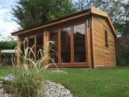 home office in the garden. Cedar Clad Office With 2 Sets Of Bi-folding Doors Home In The Garden E