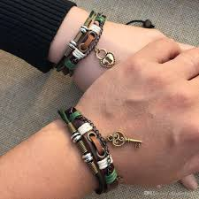 2019 trendy lock and key pendant lover s charm leather couple bracelet valentine s day gift 2pack from chinaledworld 4 93 dhgate com