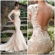 champagne wedding dress 2015 with v neck sheer open back long