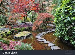 Japanese Garden Landscaping Garden Landscaping Japanese Garden Historic Butchart Stock Photo