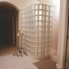 wall walk in door less glass block shower constructed with 8 x8