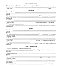 Sample Construction Contract 10 Sample Construction Contract Forms Sample Forms