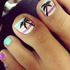 palm tree toe nail design