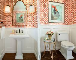 Powder Room Wallpaper Cheerful Spunk Enliven Your Powder Room With A Splash Of Orange