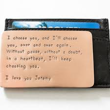 wallet insert card personalized hand sted copper long las
