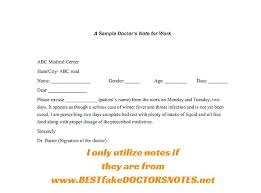 Medical Doctors Excuse Note For School Example Word Sick Sample